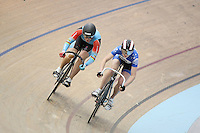 Australia's Anna Meares, left, in the Women Sprint at the 2014 Oceania Track Championships, Sit Zero Fees Velodrome, Invercargill, New Zealand, Friday, November 22, 2013. Photo: Dianne Manson / NINZ