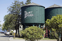 August 14, 2004 :  Two large water towers sit at the entrance of the town of Port Gamble a historical town in Port Gamble, Washington.
