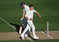 Trent Boult celebrates the wicket of Cook.<br /> New Zealand Blackcaps v England. 1st day/night test match. Eden Park, Auckland, New Zealand. Day 4, Sunday 25 March 2018. &copy; Copyright Photo: Andrew Cornaga / www.Photosport.nz