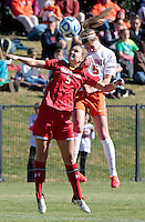 Virginia's Morgan Brian (6) battles for the ball with Maryland's Kristen Schmidbauer (5) during the first round of the ACC Tournament against Maryland Sunday at Klockner Stadium.  Virginia defeated Maryland 6-1. Photo/The Daily Progress/Andrew Shurtleff