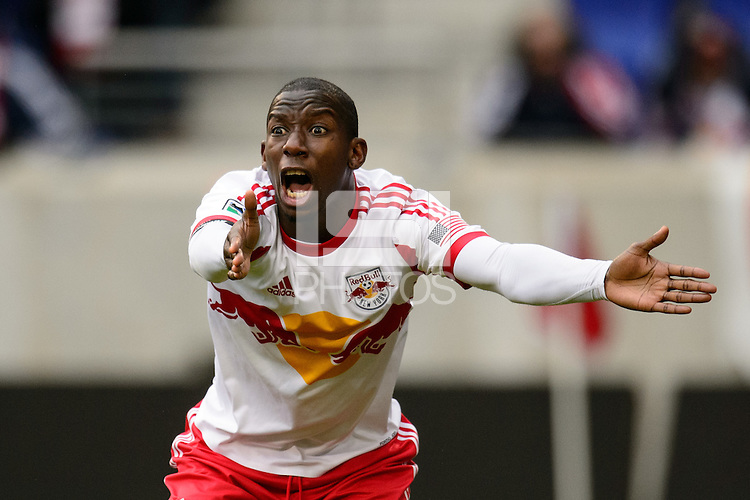Bradley Wright-Phillips (99) of the New York Red Bulls reacts to a call. The New York Red Bulls and Chivas USA played to a 1-1 tie during a Major League Soccer (MLS) match at Red Bull Arena in Harrison, NJ, on March 30, 2014.