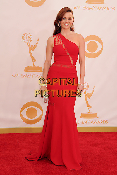 Carla Gugino<br /> 65th Annual Primetime Emmy Awards - Arrivals held at Nokia Theatre L.A. Live, Los Angeles, California, USA.<br /> September 22nd, 2013 <br /> full length dress red one shoulder sheer <br /> CAP/ADM/BP<br /> &copy;Byron Purvis/AdMedia/Capital Pictures
