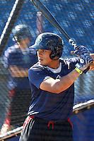 Elvin Soto #4 of the Hillsboro Hops takes batting practice before a game against the Spokane Indians at Hillsboro Ballpark on July 22, 2013 in Hillsboro Oregon. Spokane defeated Hillsboro, 11-3. (Larry Goren/Four Seam Images)