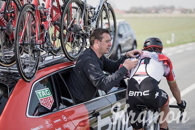 race radio check/reboot for Greg Van Avermaet (BEL/BMC)<br /> <br /> 79th Gent-Wevelgem 2017 (1.UWT)<br /> 1day race: Deinze &rsaquo; Wevelgem - BEL (249km)