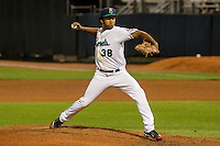 Cedar Rapids Kernels pitcher Yorman Landa (38) delivers a pitch during game five of the Midwest League Championship Series against the West Michigan Whitecaps on September 21st, 2015 at Perfect Game Field at Veterans Memorial Stadium in Cedar Rapids, Iowa.  West Michigan defeated Cedar Rapids 3-2 to win the Midwest League Championship. (Brad Krause/Four Seam Images)