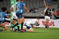 Sharks flanker Jean-Luc du Preez scores during the Super Rugby match between the Blues and Sharks at Eden Park in Auckland, New Zealand on Saturday, 31 March 2018. Photo: Dave Lintott / lintottphoto.co.nz