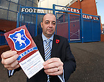 Gordon Dinnie chairman from the Rangers Supporters Trust outside Ibrox Stadium this morning for the launch of the Buy Rangers Campaign encouraging supporters to join together to buy a combined stake in the club.