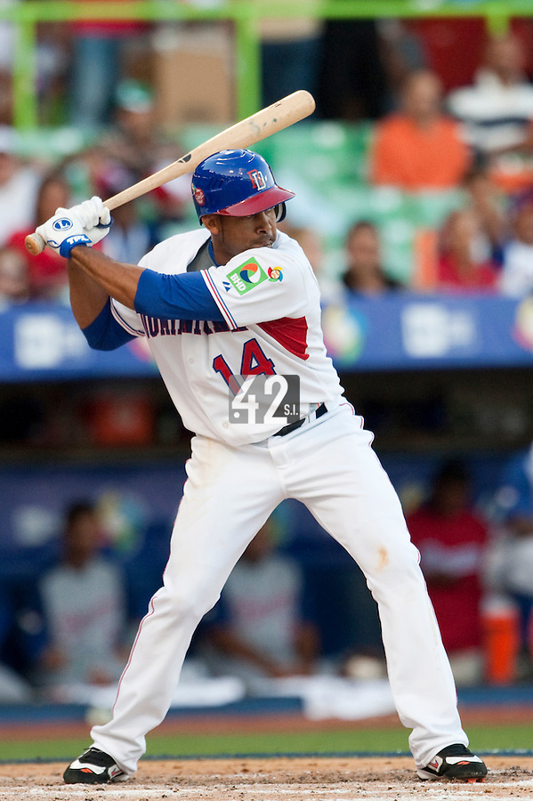 8 March 2009: #14 Fernando Tavis of Dominican Republic is seen at bat during the 2009 World Baseball Classic Pool D match at Hiram Bithorn Stadium in San Juan, Puerto Rico. Dominican Republic wins 9-0 over Panama.