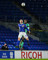 4th January 2020; Cardiff City Stadium, Cardiff, Glamorgan, Wales; English FA Cup Football, Cardiff City versus Carlisle; Danny Ward of Cardiff City and Aaron Hayden of Carlisle United challenge for the ball  - Strictly Editorial Use Only. No use with unauthorized audio, video, data, fixture lists, club/league logos or 'live' services. Online in-match use limited to 120 images, no video emulation. No use in betting, games or single club/league/player publications