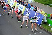 INLINE-SKATEN: STEENWIJK: Gagelsweg (start/finish), Schansweg, Meppelerweg, KPN Inline Cup, Klim van Steenwijk, 02-05-2012, Stefan due Schmidt (#538), Roy Boeve (#25), Arjan Smit (#50), Sjaak Schipper (#55), Gary Hekman (#92), ©foto Martin de Jong