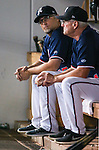 Reno Aces' Manager Phil Nevin, left, and batting Coach Greg Gross work a game against the Las Vegas 51s in Reno, Nev., on Saturday, Sept. 6, 2014. The Reno Aces defeated the Las Vegas 51s, 7-3, to win the Pacific Conference Championship Series. <br /> Photo by Cathleen Allison