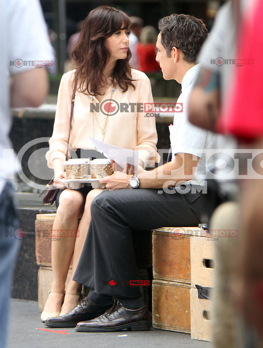 """May 30, 2012 Kristen Wiig and Ben Stiller filming on location for the film, """"The Secret Life of Walter Mitty"""" in New York City. © RW/MediaPunch Inc."""