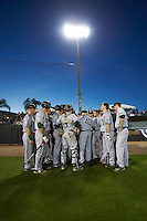 Siena Saints head coach Tony Rossi (40) talks with his team before a game against the UCF Knights on February 17, 2017 at UCF Baseball Complex in Orlando, Florida.  UCF defeated Siena 17-6.  (Mike Janes/Four Seam Images)