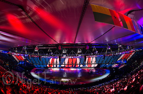"27 JUL 2012 - LONDON, GBR - The Kaos Signing Choir for Deaf and Hearing Children perform during the ""Happy and Glorious"" section of the Opening Ceremony of the London 2012 Olympic Games in the Olympic Stadium in the Olympic Park, Stratford, London, Great Britain (PHOTO (C) 2012 NIGEL FARROW)"