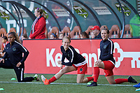 Portland, OR - Saturday May 06, 2017: Emily Sonnett, Meghan Klingenberg prior to a regular season National Women's Soccer League (NWSL) match between the Portland Thorns FC and the Chicago Red Stars at Providence Park.