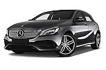 Stock pictures of low aggressive front three quarter view of 2016 Mercedes Benz A-Class Fascination 5 Door Hatchback Low Aggressive