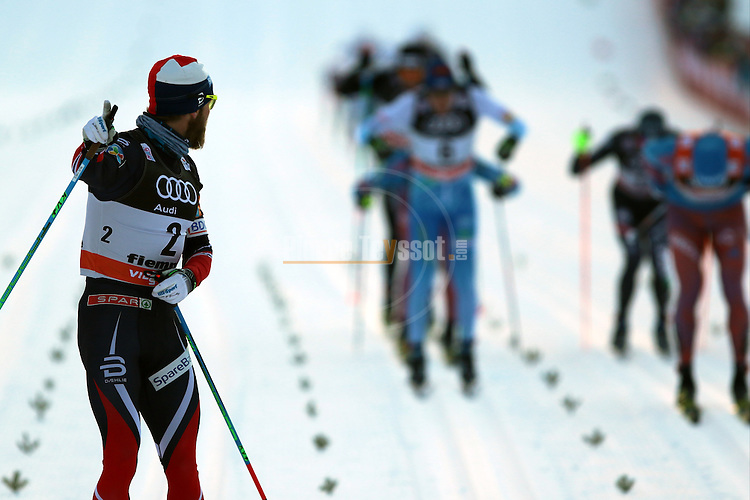 Men 10 km Individual Free race of the Tour de ski as part of the FIS Cross Country Ski World Cup in Val Di Fiemme, on January 7, 2017. Norway's Martin Sundby wins ahead of Sergey Ustiugov who remains leader. Matti Heikkinen from Finland is third.