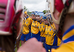 Captain Emma Kennedy (6) addresses her team in their huddle before their Minor A All-Ireland final against Galway at Nenagh.  Photograph by John Kelly.