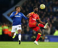 23rd  November 2019; Goodison Park , Liverpool, Merseyside, England; English Premier League Football, Everton versus Norwich City; Alex Iwobi of Everton and Alexander Tettey of Norwich City compete for the ball  - Strictly Editorial Use Only. No use with unauthorized audio, video, data, fixture lists, club/league logos or 'live' services. Online in-match use limited to 120 images, no video emulation. No use in betting, games or single club/league/player publications