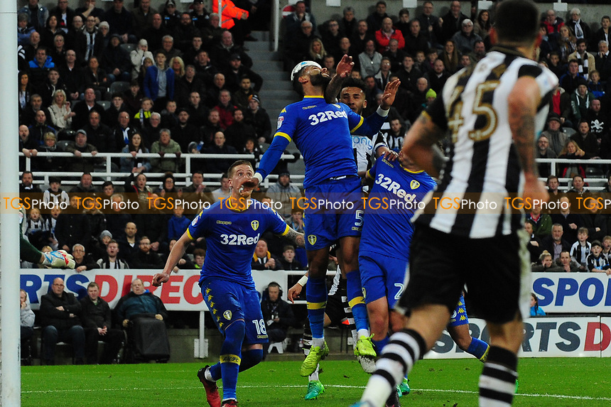 Jamaal Lascelles of Newcastle United` scores the opening goal of the game during Newcastle United vs Leeds United, Sky Bet EFL Championship Football at St. James' Park on 14th April 2017