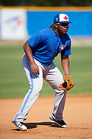 Toronto Blue Jays Vladimir Guerrero Jr. (6) during practice before a Minor League Spring Training intrasquad game on March 14, 2018 at Englebert Complex in Dunedin, Florida.  (Mike Janes/Four Seam Images)