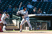 Peoria Javelinas third baseman Hudson Potts (13), of the San Diego Padres organization, at bat during an Arizona Fall League game against the Surprise Saguaros at Surprise Stadium on October 17, 2018 in Surprise, Arizona. (Zachary Lucy/Four Seam Images)