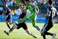 Bobby Burling (left) against Fredy Montero (right). The Seattle Sounders defeated the San Jose Earthquakes 1-0 in the second annual Heritage Cup at Buckshaw Stadium in Santa Clara, California on July 31st, 2010.