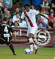 Manchester forward Jo brings the ball upfield during a match at Merlo Field in Portland Oregon on July 17, 2010.