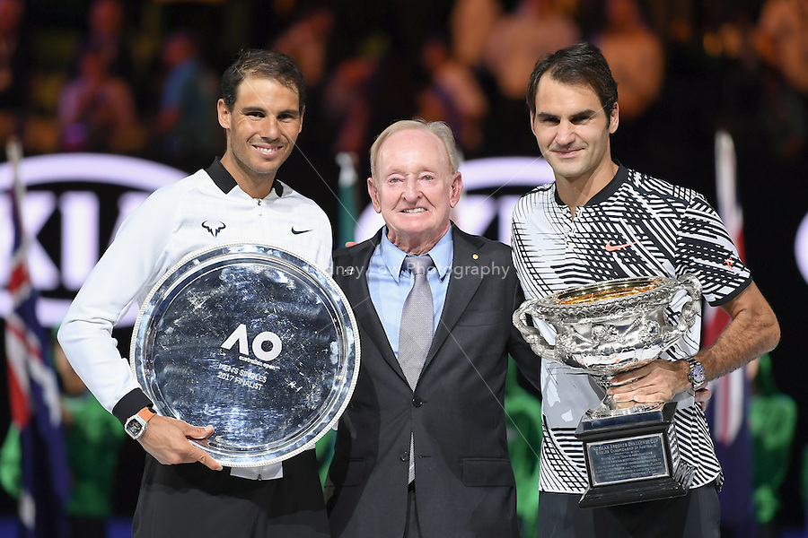 January 29, 2017: Roger Federer of Switzerland poses for photographs with Rod Laver and Rafael Nadal of Spain after winning the Men's Final on day 14 of the 2017 Australian Open Grand Slam tennis tournament in Melbourne, Australia. Photo Sydney Low