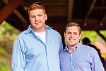 WATERTOWN, CT. 17 May 2018-051718BS92 - Connor Lynch. left, stands with his brother Devin Lynch at the Greater Waterbury Campership Fund's Big Green Pizza Truck Party at the YMCA'S Camp Mataucha on Thursday evening. Bill Shettle Republican-American