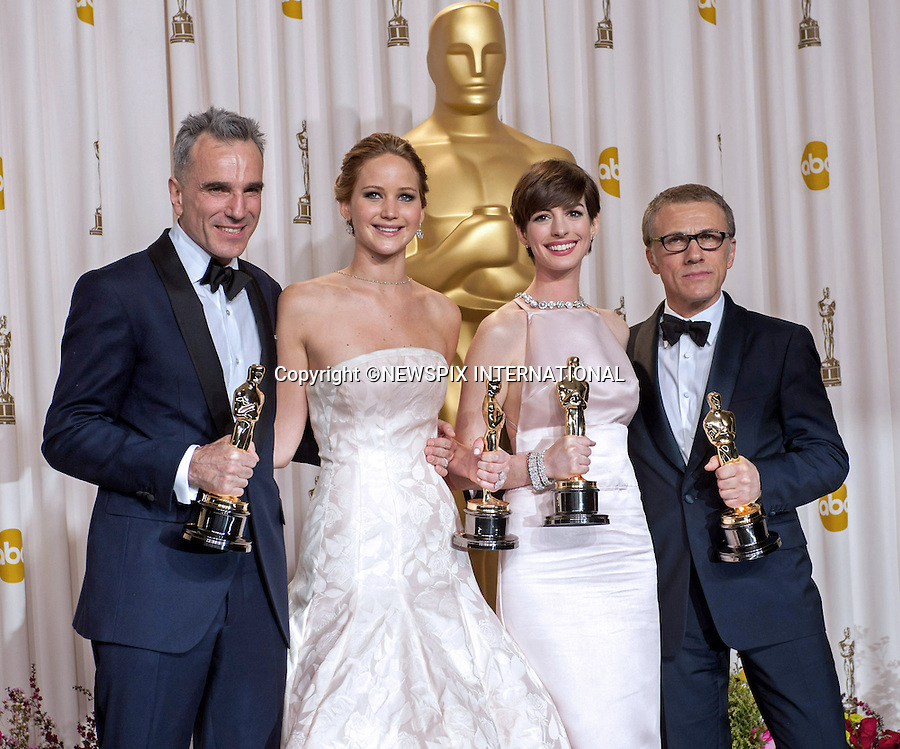 Jennifer Lawrence, Anne Hathaway, Daniel Day Lewis and Christoph Waltz.OSCARS Backstage- 85th Annual Academy Awards, Dolby Theatre, Hollywood_24/02/2013.MANDATORY PHOTO CREDIT: ©Ampas/NEWSPIX INTERNATIONAL . .(Failure to by-line the photograph will result in an additional 100% reproduction fee surcharge. You must agree not to alter the images or change their original content)..            *** ALL FEES PAYABLE TO: NEWSPIX INTERNATIONAL ***..IMMEDIATE CONFIRMATION OF USAGE REQUIRED:Tel:+441279 324672..Newspix International, 31 Chinnery Hill, Bishop's Stortford, ENGLAND CM23 3PS.Tel: +441279 324672.Fax: +441279 656877.Mobile: +447775681153.e-mail: info@newspixinternational.co.uk