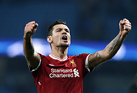 Liverpool's Dejan Lovren celebrates at the final whistle<br /> <br /> Photographer Rich Linley/CameraSport<br /> <br /> UEFA Champions League Quarter-Final Second Leg - Manchester City v Liverpool - Tuesday 10th April 2018 - The Etihad - Manchester<br />  <br /> World Copyright &copy; 2017 CameraSport. All rights reserved. 43 Linden Ave. Countesthorpe. Leicester. England. LE8 5PG - Tel: +44 (0) 116 277 4147 - admin@camerasport.com - www.camerasport.com