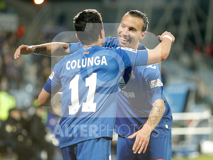 Getafe's Adrian Colunga celebrates with Alexis Ruano during La Liga match. February 01, 2013. (ALTERPHOTOS/Alvaro Hernandez)