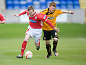 Brechin's Ryan Stewart and Alloa's Ryan McCord challenge for the ball ...