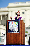Sex and the City actress Cynthia Nixon addresses a crowd of thousands at the National Equality March rally, Sunday, Oct. 11, 2009. The march wound through downtown Washington, DC and the National Mall before culminating at the Capitol Building. Nixon and other LGBT rights figures such as NAACP President Julian Bond, activist Cleeve Jones, and singer Lady Gaga called for full legal equality across the country, marking the 30th anniversary of the first such march, led by Harvey Milk in 1979. (Joseph Shemuel/pressphotointl.com)
