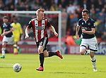 Mark Duffy of Sheffield Utd races clear during the championship match at the Bramall Lane Stadium, Sheffield. Picture date 14th April 2018. Picture credit should read: Simon Bellis/Sportimage