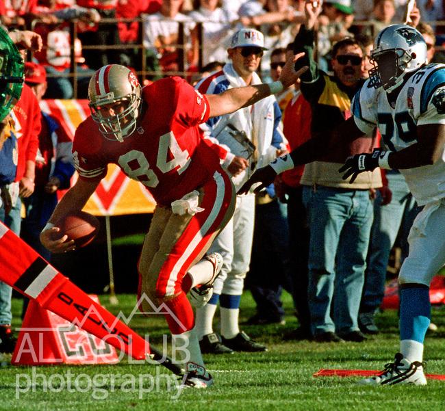 San Francisco 49ers vs. Carolina Panthers at Candlestick Park Sunday, November 5, 1995.  Panthers beat 49ers  13-7.  San Francisco 49ers tight end Brent Jones (84) makes first down.