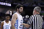 CHAPEL HILL, NC - DECEMBER 30: North Carolina's Luke Maye (32) talks to referee Tim Nestor. The University of North Carolina Tar Heels hosted the Wake Forest University Demon Deacons on December 30, 2017 at Dean E. Smith Center in Chapel Hill, NC in a Division I men's college basketball game. UNC won the game 73-69.