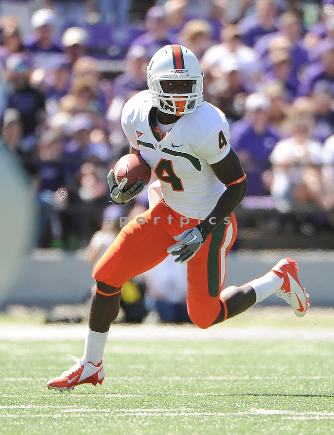 Miami Hurricanes Phillip Dorsett (4) in action during a game against the Kansas State Wildcats on September 8, 2012 at Bill Snyder Family Stadium in Manhattan, KS. Kansas State beat Miami 52-13.