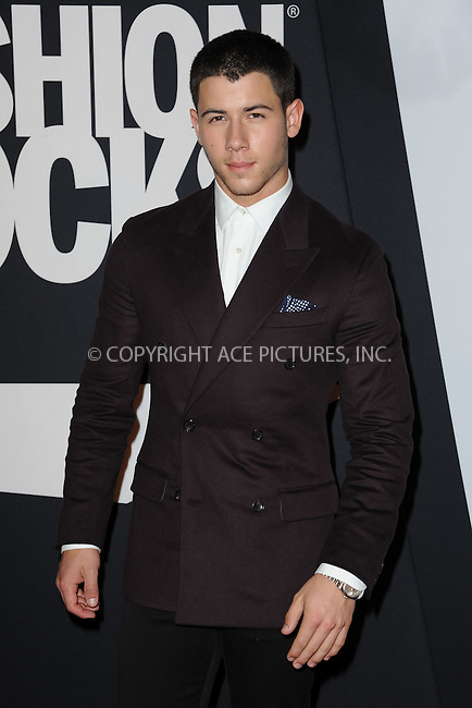 WWW.ACEPIXS.COM<br /> September 9, 2014 New York City<br /> <br /> Nick Jonas attending Fashion Rocks 2014 at the Barclays Center September 9, 2014 in New York City.<br /> <br /> Please byline: Kristin Callahan/AcePictures<br /> <br /> ACEPIXS.COM<br /> <br /> Tel: (212) 243 8787 or (646) 769 0430<br /> e-mail: info@acepixs.com<br /> web: http://www.acepixs.com