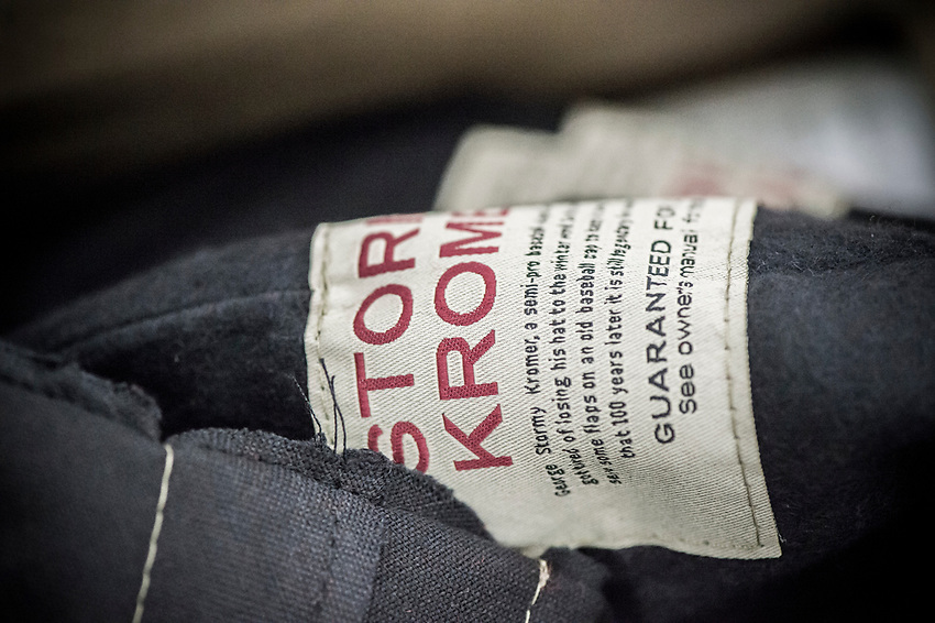 Detail of pieces of the Stormy Kromer hat sewn at the Ironwood, Michigan production facility.