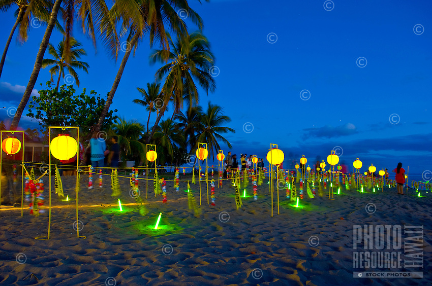 Roped-off beach area at Lahaina Jodo Mission in preparation for the evening's floating lantern ceremony prior to the obon dance celebration, Lahaina, Maui