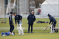 Stuart Law, Head Coach, Middlesex CCC surveys the warm up session during Middlesex CCC vs Lancashire CCC, Specsavers County Championship Division 2 Cricket at Lord's Cricket Ground on 12th April 2019