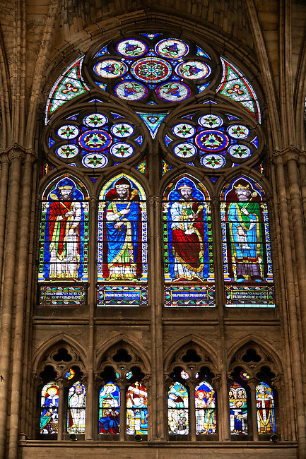 Medieval Gothic stained glass window showing the Kings of France. The Gothic Cathedral Basilica of Saint Denis ( Basilique Saint-Denis ) Paris, France. A UNESCO World Heritage Site.