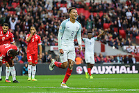 Dele Alli (Tottenham Hotspur) of England (8) celebrates scoring his team's second goal of the game to make it 2-0 during the FIFA World Cup qualifying match between England and Malta at Wembley Stadium, London, England on 8 October 2016. Photo by David Horn / PRiME Media Images.
