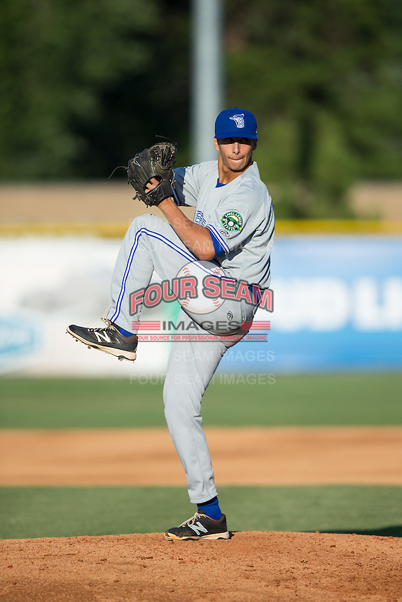 Bluefield Blue Jays relief pitcher Connor Eller (29) in action against the Burlington Royals at Burlington Athletic Stadium on June 26, 2016 in Burlington, North Carolina.  The Blue Jays defeated the Royals 4-3.  (Brian Westerholt/Four Seam Images)