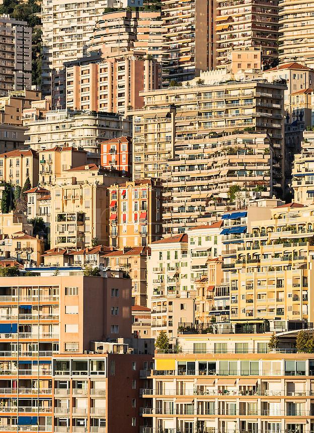 Dense cluster of city buildings, Monte Carlo, Monaco