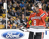 Adam Reid (Northeastern - 8) - The Boston College Eagles defeated the Northeastern University Huskies 7-1 in the opening round of the 2012 Beanpot on Monday, February 6, 2012, at TD Garden in Boston, Massachusetts.