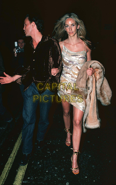LISA BUTCHER  ..China White Playboy Party..Ref: 10858..same dress worn by lucy clarkson and beverley turner, stripes, full length, full-length..www.capitalpictures.com..sales@capitalpictures.com..©Capital Pictures.. ..