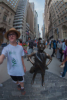 Max and Defiant Girl, Wall Street, Manhattan, New York, US